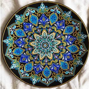 بشقاب سفالی گل آبی