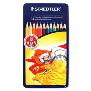 مداد رنگی 12 رنگ جعبه فلزی استدلر