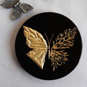 بشقاب سفالی طرح پروانه طلایی