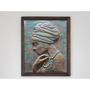 تابلو نقش برجسته سفالی طرح دختر آفریقایی