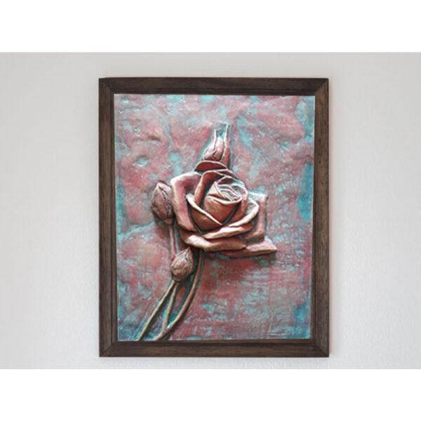 تابلو نقش برجسته سفالی طرح گل رز سرخ